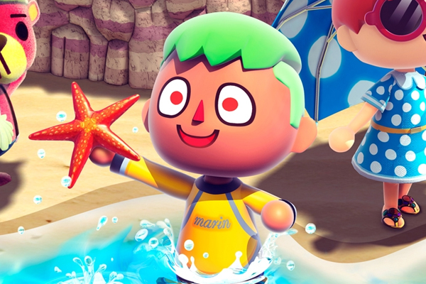 animal crossing boy holding starfish